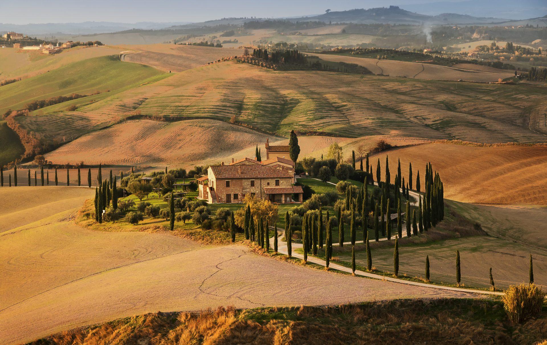 Foto van Val d'Orcia, een streek in Toscane, Italië,