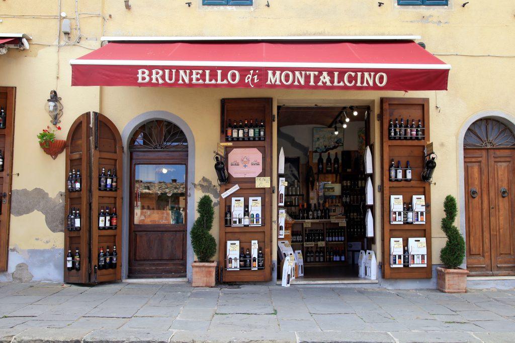 Een wijnwinkel in Montalcino